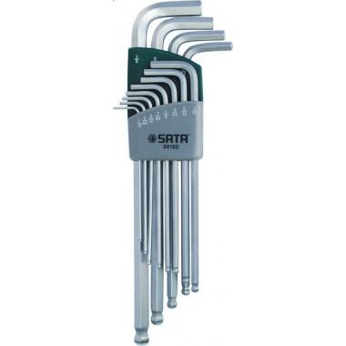 Zestaw 12 kluczy trzpieniowych 6-kątnych calowych ekstra długich z kulką