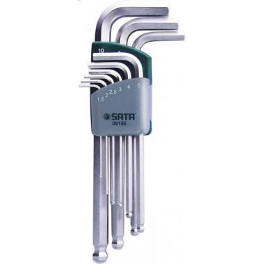Zestaw 9 kluczy trzpieniowych 6-kątnych metrycznych długich z kulką