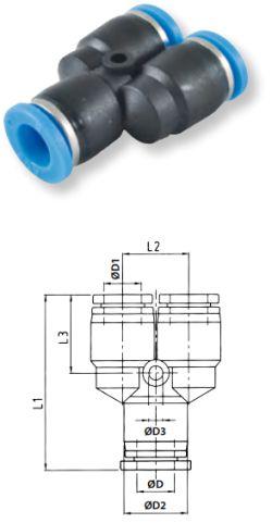 Trójnik wtykowy typu Y - Rectus - złączka pneumatyczna